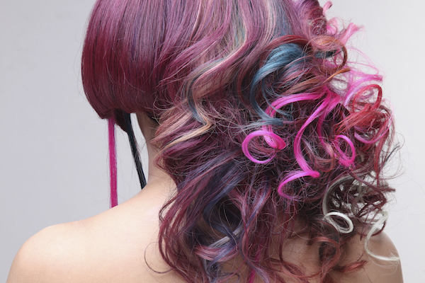 Women With Colorful Tape In Extensions In Her Hair-2-6